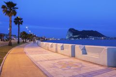 Panorama of Gibraltar seen from La Linea de la Concepcion Stock Image