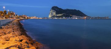 Panorama of Gibraltar seen from La Linea de la Concepcion Royalty Free Stock Photography