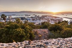Panorama of Gibraltar at sunrise Royalty Free Stock Images