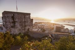 Panorama of Gibraltar at sunset Royalty Free Stock Photography