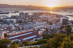 Panorama of Gibraltar at sunset Stock Images