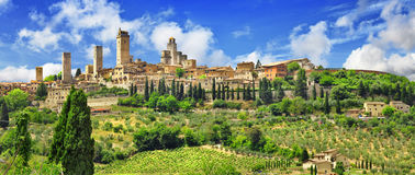 Panorama Gimignano, Toscanië Italië Stock Fotografie