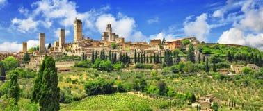 Panorama Gimignano, Toskana Italien Stockfotografie