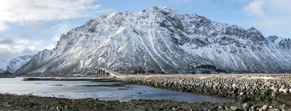 Panorama of Gimsoystraumen Bridge, on Lofoten Islands, Royalty Free Stock Photo