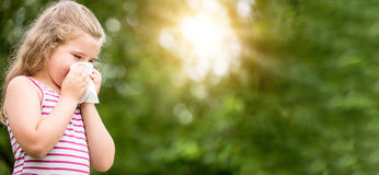 Panorama of girl with hay fever or allergy Royalty Free Stock Photography