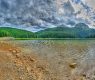 Panorama of glacial Black lake in Durmitor Stock Images