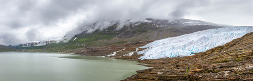 Panorama of the glacier Svartisen in Norway Stock Photography