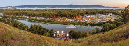All-Russia festival of the author`s song named after Valery Grushin. Panorama of the glade, where the All-Russia festival of author`s song named after Valery royalty free stock photography