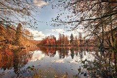Panorama a glassy lake. Panorama of autumn trees at a glassy lake royalty free stock image