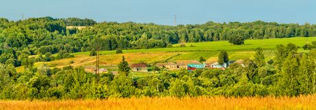 Panorama of Glazovo, a typical village on the Central Russian Upland, Kursk region of Russia Stock Photo