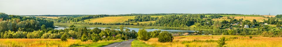 Panorama of Glazovo, a typical village on the Central Russian Upland, Kursk region of Russia Royalty Free Stock Photography