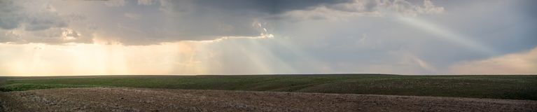 Panorama 3: god rays over The Palouse royalty free stock images