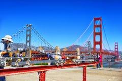 Panorama of the Gold Gate Bridge and the modem miniatur Golden Gate. San Francisco. California, USA stock photos