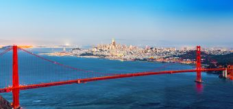 Panorama of the Gold Gate Bridge and San Francisco city at night, California. USA stock images