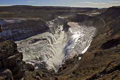 Panorama of the Golden Falls falling into the chasm, Gullfoss waterfall, Iceland. Stock Photo
