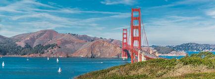 Panorama of the Golden Gate bridge Royalty Free Stock Photography