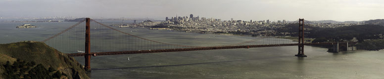 Panorama of the Golden Gate Bridge Royalty Free Stock Images