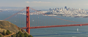 Golden Gate Bridge and San Francisco Bay. Panorama of Golden Gate Bridge and San Francisco Bay royalty free stock photography