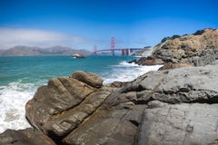 Panorama of the golden gate suspension bridge in Frisco bay Stock Images