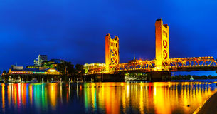 Panorama of Golden Gates drawbridge in Sacramento. At the night time Royalty Free Stock Photos
