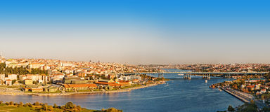 Panorama golden horn at Istanbul. Royalty Free Stock Images