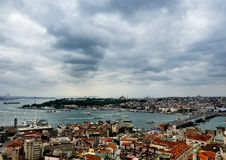 Panorama of the Golden Horn in Istanbul, Turkey Stock Images