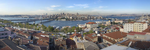 Panorama of Golden Horn on a sunny day with blue sky background Stock Image