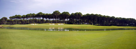 Panorama of golf club, green grass Royalty Free Stock Photo