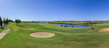 Panorama of a golf course. Royalty Free Stock Photo