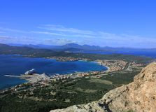 Panorama of Golfo Aranci City. In Sardinia from Monte Ruju, Olbia Royalty Free Stock Image