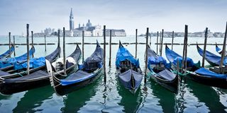 Panorama of gondas in Venice Italy stock image