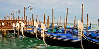 Panorama of gondolas in Venice Italy stock photos