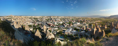 Panorama of Goreme city in Cappadocia, Turkey. Royalty Free Stock Photography