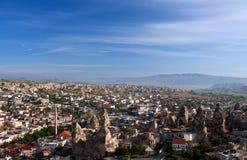 Panorama of Goreme village in Cappadocia, Turkey Stock Image