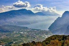 Panorama of the gorgeous Lake Garda Stock Images