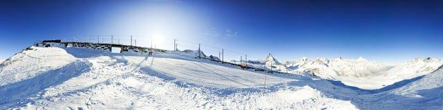 Panorama with Gornergratbahn and Matterhorn Stock Images