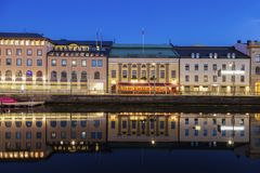 Panorama of Gothenburg. Along the canal. Gothenburg, Vasstergotland and Bohuslan, Sweden stock image