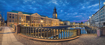 Panorama of Gothenburg in the evening. Panoramic view on the embankment from Residence bridge in the evening in Gothenburg, Sweden Stock Images
