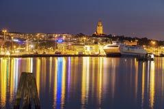 Panorama of Gothenburg. At night. Gothenburg, Vasstergotland and Bohuslan, Sweden stock photo
