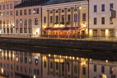 Panorama of Gothenburg. At night. Gothenburg, Vasstergotland and Bohuslan, Sweden royalty free stock photography