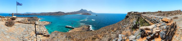 Panorama of Gramvousa , westernmost peninsula of Crete in Greece. Remains of Venetian fort Stock Photo