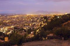 Panorama of Granada. At sunset. Granada, Andalusia, Spain Stock Images