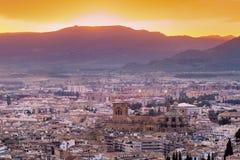 Panorama of Granada. At sunset. Granada, Andalusia, Spain Royalty Free Stock Photography