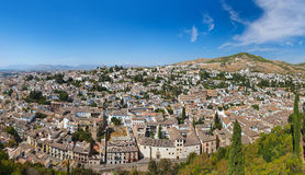 Panorama of Granada Spain. View from Alhambra palace Royalty Free Stock Photos