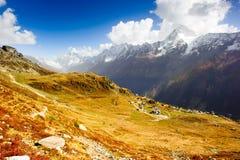 Panorama granangular del valle de Loetschental Imagen de archivo libre de regalías