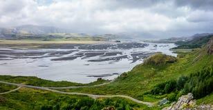 Panorama grand-angulaire de paysage en Islande Images libres de droits
