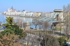 Panorama of grand Budapest, Hungary, with the famous Chain Bridge and the Parliament Stock Photos