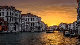 Panorama of Grand Canal at sunset, Venice. Venice at sunset, Italy. Panorama of Grand Canal in evening. Urban landscape of Venice in sun light. Beautiful sunny stock images
