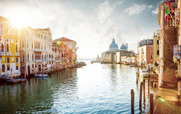 Panorama of Grand Canal in Venice, Italy. Panorama of Grand Canal in Venice - Italy Royalty Free Stock Photos