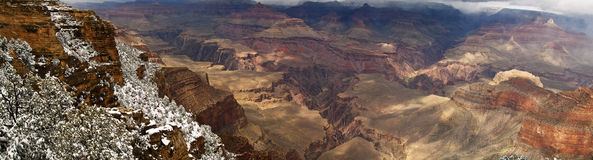 Panorama Of Grand Canyon with Snow Stock Photos